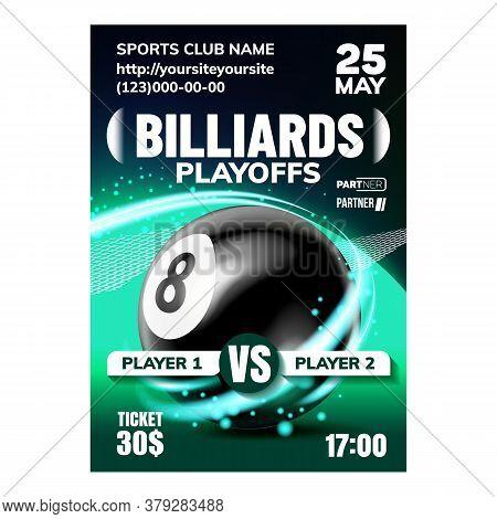 Billiard Leisure Active Sport Game Banner Vector. Recreational Billiard Ball Advertising Announcemen