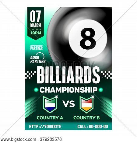Billiard Professional Sport Event Banner Vector. Billiard Gaming Black Ball Number Eight On Promotio