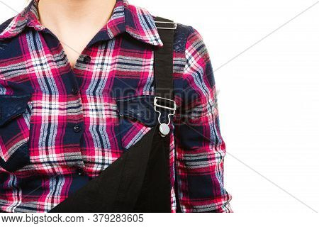 Garden Fashion Concept. Closeup Of Black Dungarees And Check Pink Shirt On Woman. Isolated Backgroun