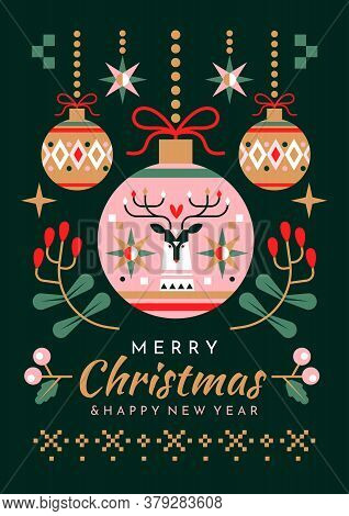 Christmas And New Year Greeting Card Design With Colorful Decorative Baubles, Holly And Mistletoe Ab