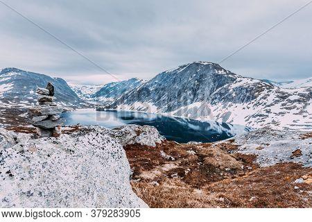 Tourism Holidays And Travel. Djupvatnet Lake In Stranda More Og Romsdal, Norway Scandinavia.