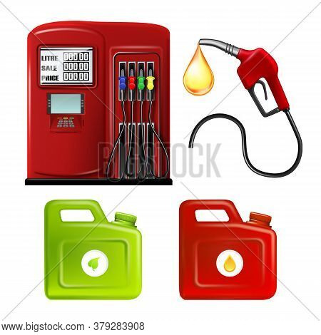 Gas Station Hosepipe And Canisters Set Vector. Collection Of Station Equipment, Hose Pipe With Petro