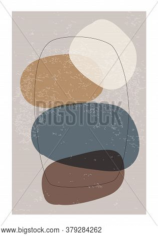 Minimalist Design Poster With Abstract Organic Shapes Composition