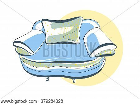 Sketch Of A Chair In A Linear Style, Contour Drawing In Black And Blue On A White Background. Uphols