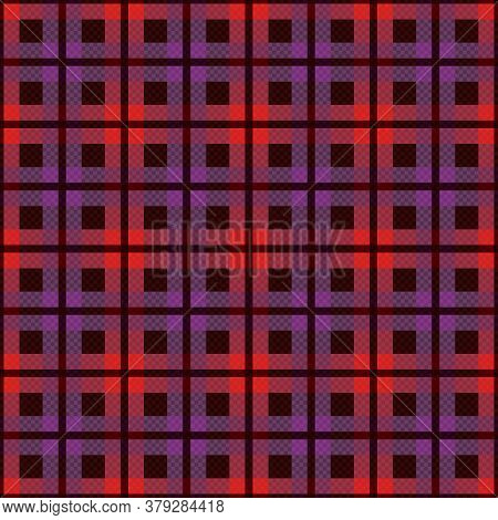 Rectangular Seamless Vector Muted Pattern As A Tartan Plaid Mainly In Red And Violet Hues, Texture F