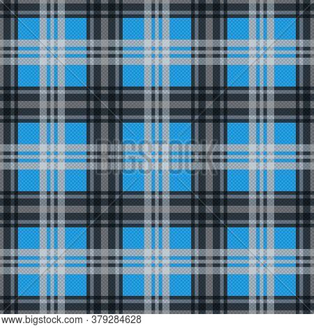 Tartan Scottish Seamless Pattern In Blue And Grey Colors, Texture For Flannel Shirt, Plaid, Tableclo