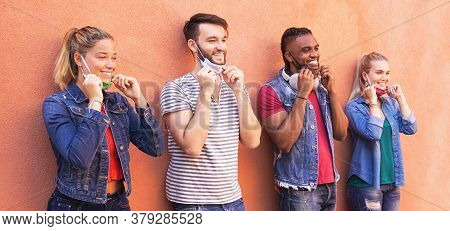 Multiracial Millennial Friends Smiling With Face Mask -  Students On Travel Vacation