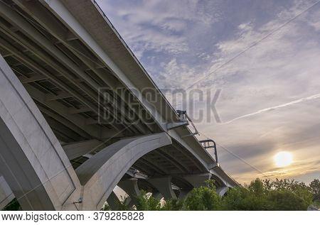 Below The Woodrow Wilson Memorial Bridge, Which Spans The Potomac River Between Alexandria, Virginia