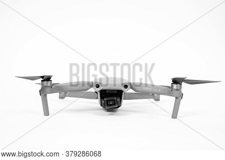 Rostov, Russia - July 22, 2020: Quadcopter Dji Mavic Air 2 With Camera And Straightened Blades On Wh