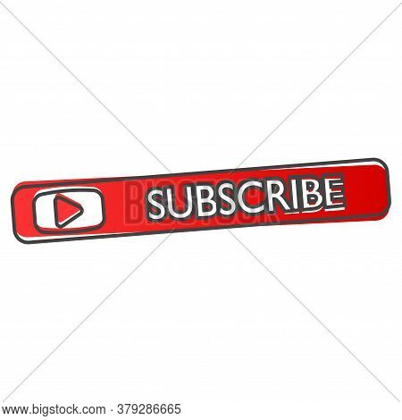 Subscribe Button With Arrow. Vector Subscribe Icon On Red Color Cartoon Style On White Isolated Back