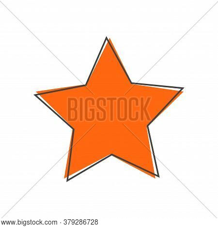 Vector Icon Five-pointed Star Cartoon Style On White Isolated Background. Layers Grouped For Easy Ed