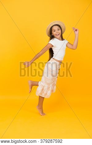Girl Small Child In Hat Celebrate Summer Holiday, Having Fun Concept.