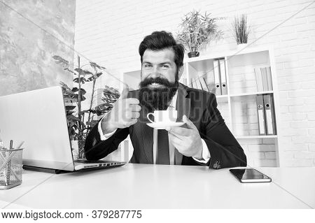Really Good Cappuccino. Discuss Business Over Coffee. Man Handsome Boss Sit In Office Drinking Coffe
