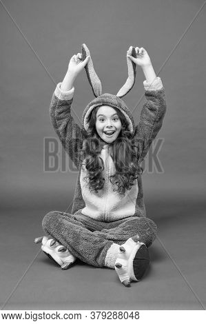 Look At My Ears. Rest And Relax. Cute Bunny Kid. Baby Animal Character. Girl In Bunny Costume Funny