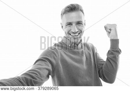 Happy Winner. Happy Guy Make Winner Gesture Isolated On White. Happy Celebration. Pleasure And Joy.