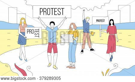Concept Of Mass Protest Action. Dissatisfied People With Banners Complaining And Taking Part In Stri