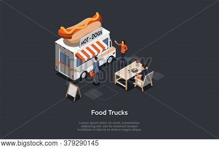 Concept Of Fast Food Festival. Modern Food Truck With Hot Dog Logo Offers Tasty Fresh Fast Food Meal