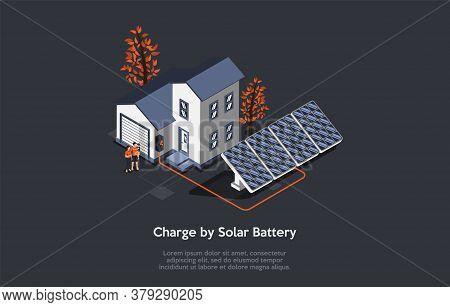 Eco City Concept. People Use Alternative Energy Sources. Friendly Renewable Energy Saving. Solar Pan
