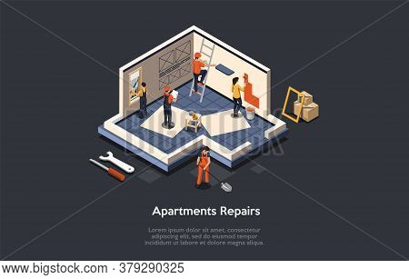 Concept Of Apartment Repair. Professional Construction Crew Led By Foreman In Uniform Repair Or Offi
