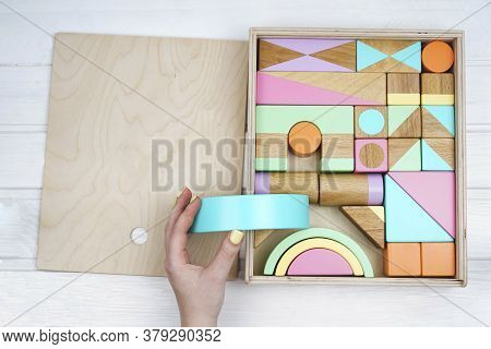 Childrens Wooden Toys. Wooden Constructor For Children. Colorful Toys Made Of Natural Materials. Zer