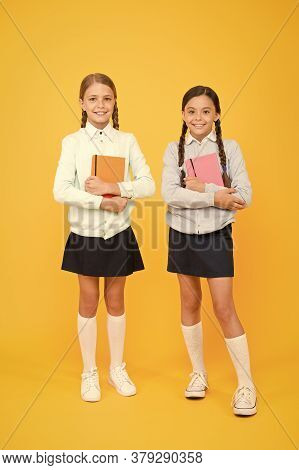 Secondary School. Schoolgirls Tidy Appearance School Uniform. School Friendship. Knowledge Day. Scho