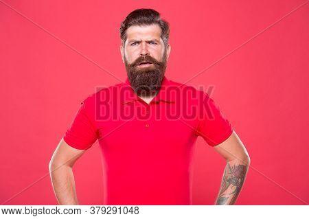 Emotional Bearded Hipster. Hairdresser Salon. Brutality And Confidence. Barbershop Model. Promoting