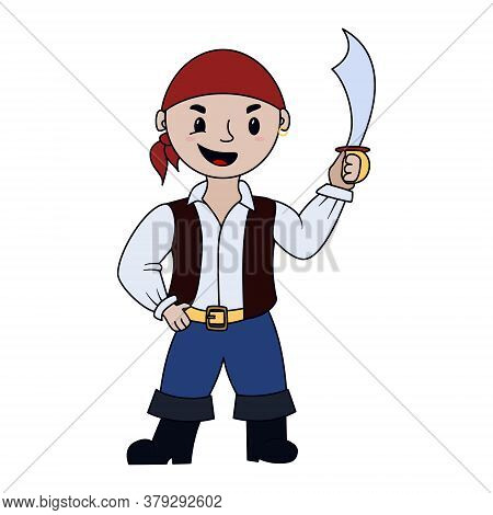 Cute Little Pirate Kid With Saber. Cartoon Character. A Boy In Halloween Costume Of Pirate. Vector I