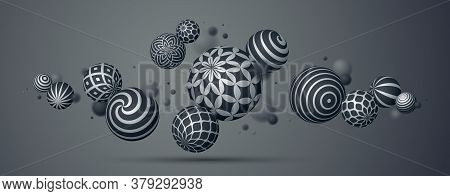 Abstract Spheres Vector Background, Composition Of Flying Balls Decorated With Patterns, 3d Mixed Va