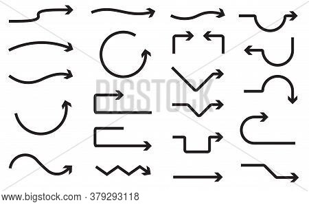 Big Set Of Hand Drawn Vector Arrows On A White Background.