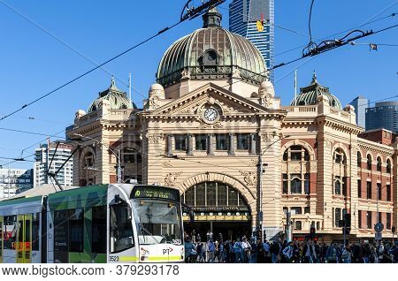 Melbourne, Australia - May 16, 2019: City Tram Moving Along Swanston Street Across The Front Of The