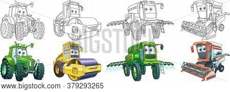 Coloring Pages. Farm Transport. Cartoon Clipart Set For Activity Coloring Book, T Shirt Print, Icon,