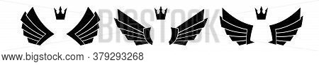 Set Of Three Pairs Of Wings With Crowns.