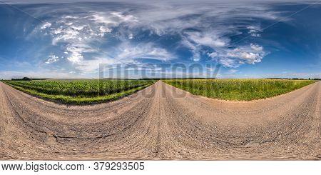 Full Spherical Seamless Hdri Panorama 360 Degrees Angle View On No Traffic White Sand Gravel Road Am