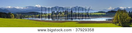 panorama view over beautiful rural landscape nearby city Fuessen in Bavaria Germany poster