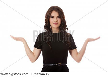 Woman showing something on the palm of her hands.