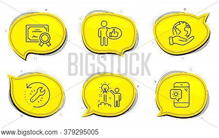 Creative Idea Sign. Diploma Certificate, Save Planet Chat Bubbles. Weather Phone, Recovery Tool And