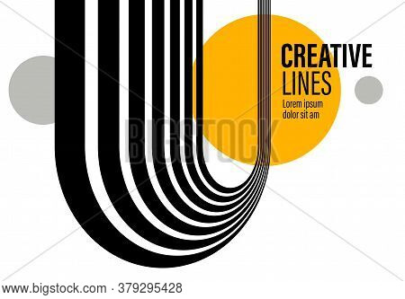 3d Black And White Lines In Perspective With Yellow Elements Abstract Vector Background, Linear Pers