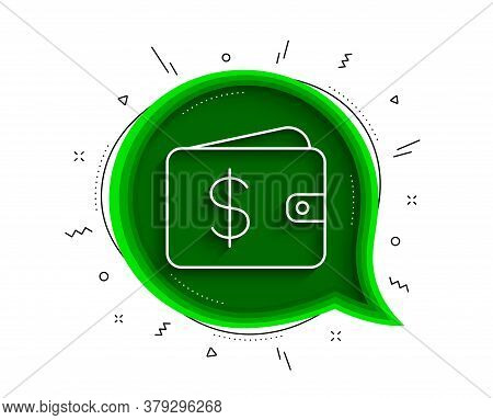 Shopping Wallet Line Icon. Chat Bubble With Shadow. Dollar Sign. Usd Money Pocket Symbol. Thin Line