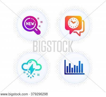 Thunderstorm Weather, New Products And Clock Icons Simple Set. Button With Halftone Dots. Bar Diagra