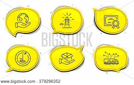 Lighthouse Sign. Diploma Certificate, Save Planet Chat Bubbles. 48 Hours, Hold Box And Truck Deliver
