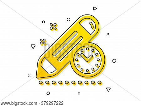 Time Management Sign. Project Deadline Icon. Clock Symbol. Yellow Circles Pattern. Classic Project D