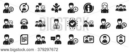 Male And Female Profile, Group And Support Icons. User People Icons. Id Card, Teamwork People And Bu