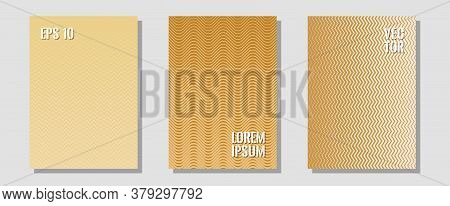 Certificate Layouts Vector Graphic Design Set. Minimal Booklets. Zigzag Halftone Lines Wave Stripes