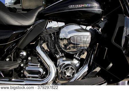 Salvador, Bahia / Brazil - April 8, 2014: Motorcycle Harley Davidson Cvc Ultra Limited, 1690 Cylintr