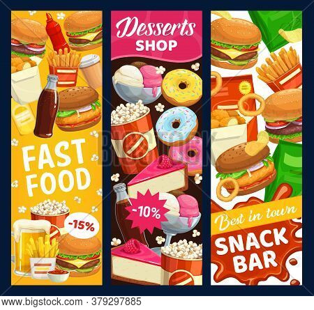 Fast Food Snack Bar And Desserts Vector Banners. Street Meals Burgers, Donuts And Popcorn, Beer, Fre
