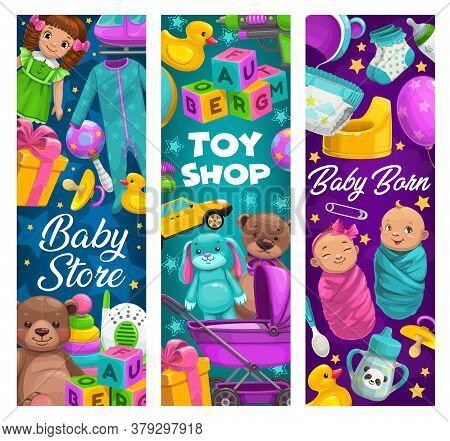 Baby Care, Toys Shop, Cartoon Kids Stuff Store. Newborns And Diaper, Apparel, Baby Monitor And Rubbe
