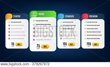 Start Business, Text Message And Seo Phone Line Icons Set. Pricing Table, Subscription Plan. Friends