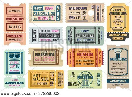 Museum Retro Tickets, Admits Templates. Vector Coupons Exhibition Access With Date, Time, Seat And R