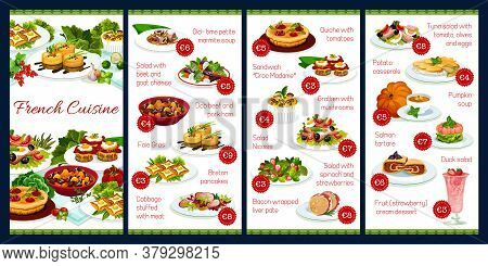 France Cuisine Vector Menu Template, French Meals, Dob Beef And Pork Ham, Foie Grass, Cabbage Stuffe