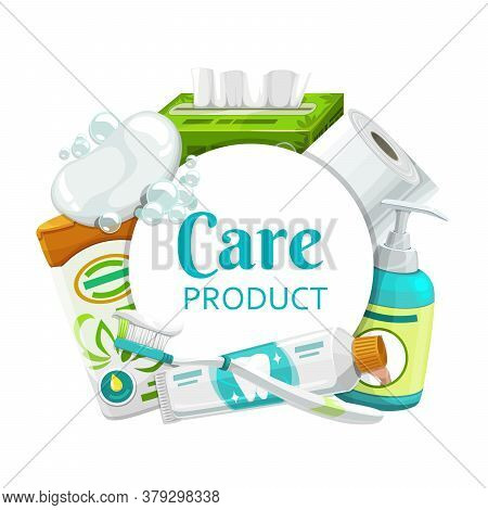 Hygiene, Health Care Products Round Frame. Vector Soap, Toilet Paper And Shampoo, Brush, Toothpaste